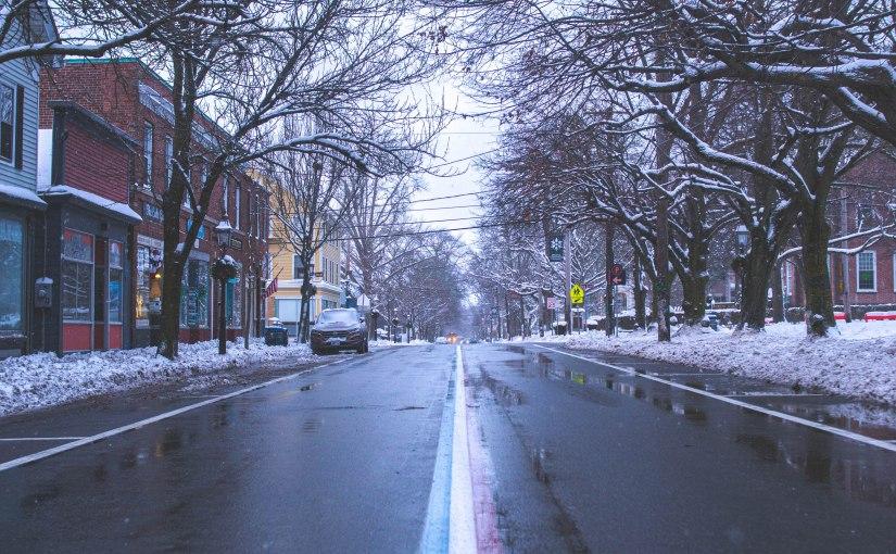 Early Evening Winter Walk in Downtown Bristol, RhodeIsland